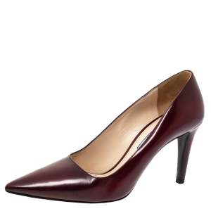 Prada Burgundy Leather Pointed Toe Pumps Size 37