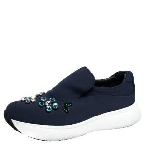 Prada Navy Blue Fabric Crystal Embellished Slip On Sneakers Size 37.5