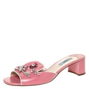 Prada Pink Patent Leather Flower Crystal Embellished Slide Sandals Size 39.5