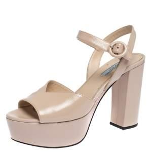 Prada Beige Patent Leather Ankle Strap Block Heel Platform Sandals Size 38