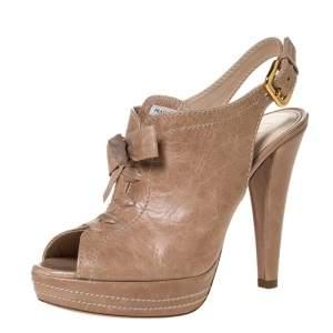 Prada Beige Leather Lace Up Detail Platform Slingback Sandals Size 37.5