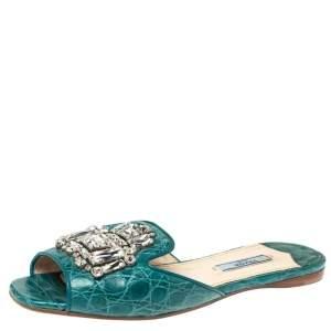 Prada Teal Croc Embossed Leather Crystal Embellished Flat Slides Size 37
