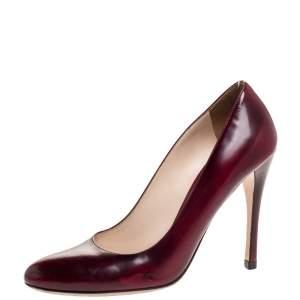 Prada Burgundy/Black Coated Leather Pumps Size 37