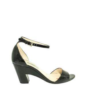 Prada Black Patent Leather  Sandals Size 38