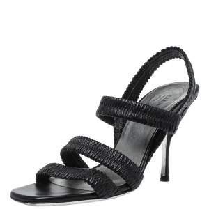 Prada Black Matelasse Leather Strappy Sandals Size 36