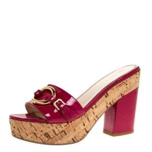 Prada Pink Patent Leather Embellished Open Toe Cork Platform Block Heel Sandals Size 38