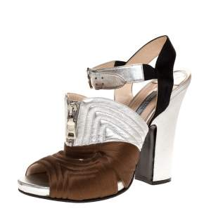 Prada Tricolor Stitch Detail Leather And Satin Zip Detail Block Heel Sandals Size 40