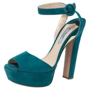 Prada Teal Suede Platform Block Heel Ankle Strap Sandals Size 37.5