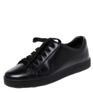 Prada Black Leather Lace Up Sneakers Size 37.5