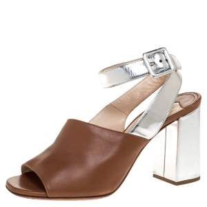 Prada Brown/Silver Leather Block Heel Open Toe Ankle Strap Sandals Size 37
