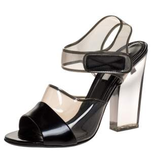 Prada Black Leather And PVC Ankle Strap Lucite Heel Sandals Size 37