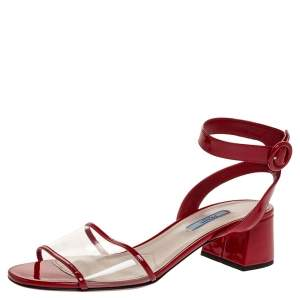 Prada Red Patent and PVC Ankle Strap Block Heel Sandals Size 39.5