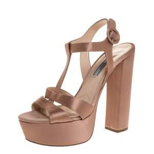 Prada Beige Satin Open Toe Ankle Strap Platform Sandals Size 37.5