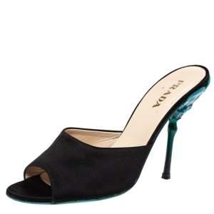 Prada Black Satin Sculptured Heel Mule Size 38.5