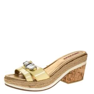Prada Yellow Patent Leather Cork Wedge Espadrille Slide Sandals Size 38.5
