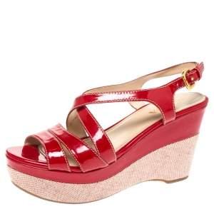 Prada Red Patent Leather Platform Wedge Sandals Size 37.5