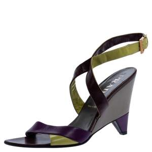 Prada Multicolor Leather Ankle Strap Sandals Size 37.5
