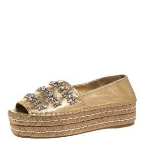 Prada Metallic Gold Leather Crystal Embellished Peep Toe Platform Espadrille Size 38