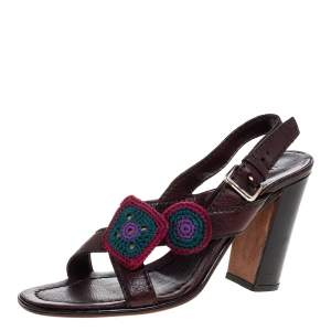 Prada Brown Leather Embellished Cross Strap Slingback Sandals Size 38