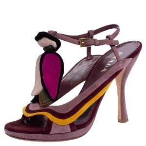 Prada Multicolor Suede Floral Fairy Collection Ankle Strap Sandals 37.5