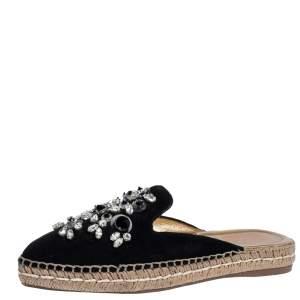 Prada Black Suede Crystal Embellished Pointed Toe Espadrille Mules Size 36