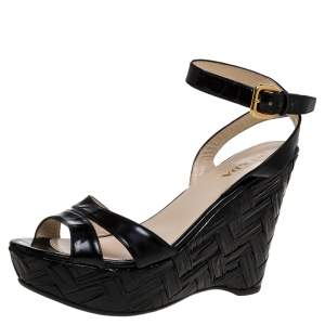 Prada Black Patent Leather Straw Wedge Ankle Wrap Sandals Size 39