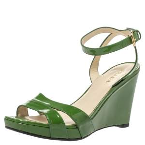 Prada Green Patent Leather Wedge Platform Ankle Strap Sandals Size 39