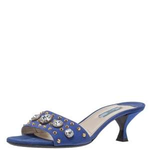 Prada Blue Suede Crystal Embellished Open Toe Sandals Size 37.5