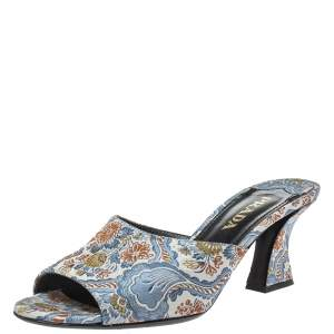 Prada Multicolor Brocade Fabric Slide Sandals Size 36