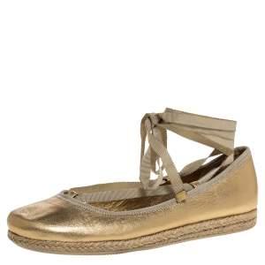 Prada Metallic Gold Leather Wrap Up Espadrille Flats Size 38