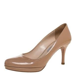 Prada Beige Patent Leather Platform Pumps Size 35.5
