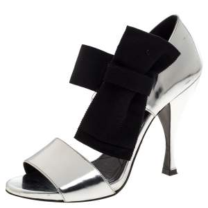 Prada Metallic Silver Leather Bow Embellished Elastic Strap Sandals Size 37.5