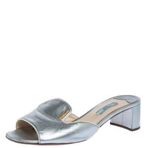 Prada Silver Saffiano Leather Block Heel Slide Sandals Size 39