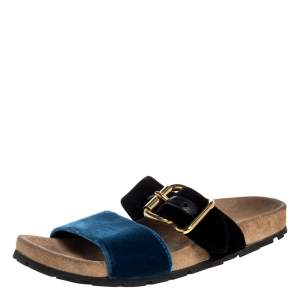 Prada Black/Blue Velvet Slide Flat Sandals Size 36