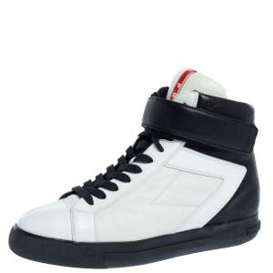 Prada Black/White Leather Trainer High top Sneakers Size 37.5