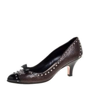 Prada Brown/Black Studded Textured Leather Bow Pumps Size 38.5