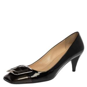 Prada Black Patent Leather Square Buckle Pumps Size 41