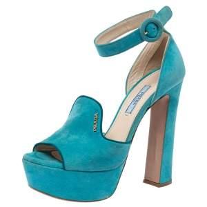 Prada Teal Suede Platform Block Heel Ankle Strap Sandals Size 37