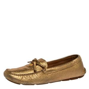 Prada Metallic Gold Leather Bow Slip On Loafers Size 39