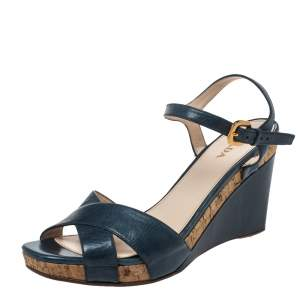 Prada Blue Criss Cross Leather Ankle Strap Wedge Sandals Size 41