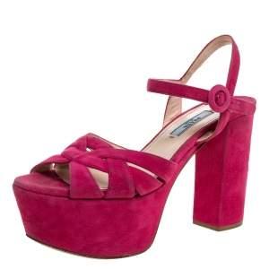 Prada Pink Suede Block Heel Platform Sandals Size 37.5