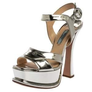 Prada Metallic Silver Leather Platform Ankle Strap Sandals Size 36