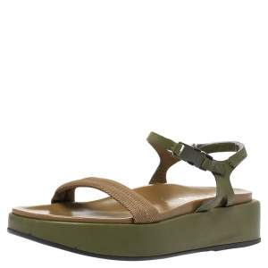 Prada Two-Tone Nylon And Leather Velcro Slingback Platform Sandals Size 39.5