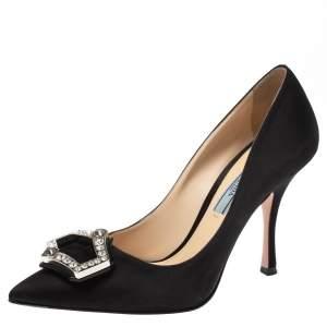 Prada Black Satin Crystal Embellished Pointed Toe Pumps Size 36