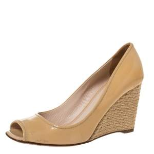Prada Beige Patent Leather And Espadrille Peep Toe Wedge Pumps Size 39