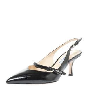 Prada Black Patent Leather Bow Slingback Sandals Size 37