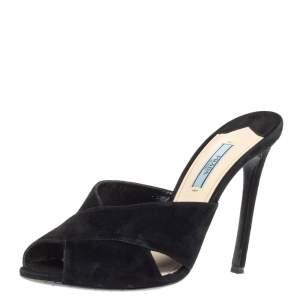 Prada Black Suede Peep Toe Mule Sandals Size 39