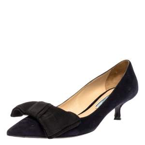 Prada Navy Blue Suede Bow Embellished Pointed Toe Pumps Size 36