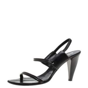Prada Black Leather Slingback Sandals Size 38.5