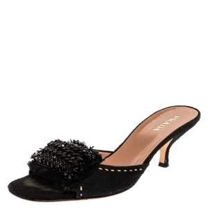 Prada Black Canvas Crystal Embellished Open Toe Slide Sandals Size 39